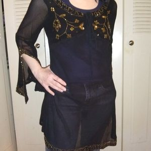 NWT Boho Sheer Black Embroidered Top Dress L